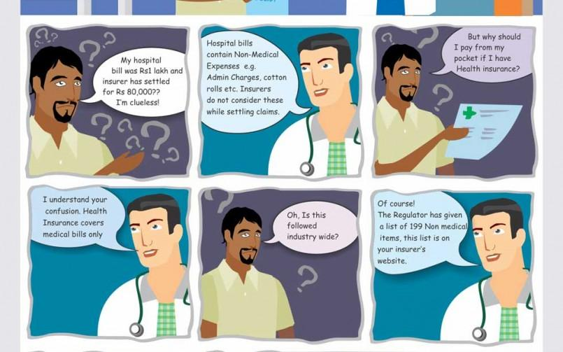 Learn about non-medical expenses in health insurance with this comic-strip
